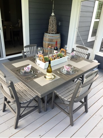 Charcoal Gray with Dove Gray Artisan Table with Deacon's Chairs