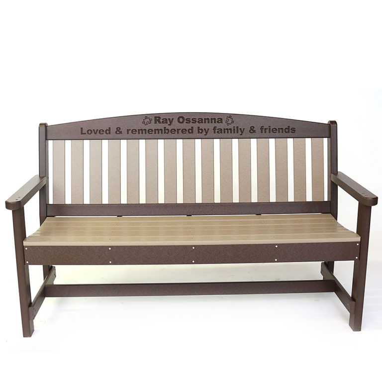 Leroy's Engraved Triple Crescent Garden Bench With Arms - LR64