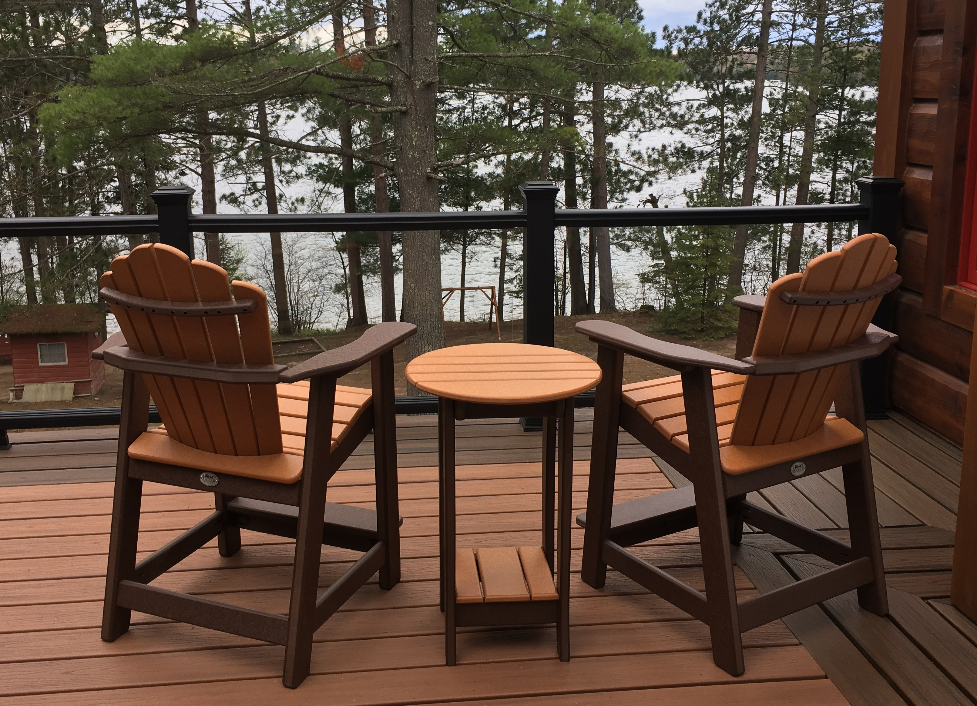 Balcony Height Snuggleback Captains Chairs on the lake in Eagle River Wisconsin
