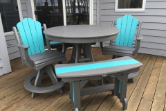 Daisy Balcony Swivel Captain's Chair with Americana Curved Benches in Charcoal Gray and Turquoise
