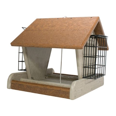 Rustic Bird Feeder with suet Feeder Attached